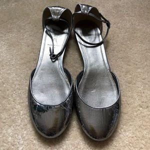 J.Crew metallic pewter ankle-strap flats NWOT 8.5